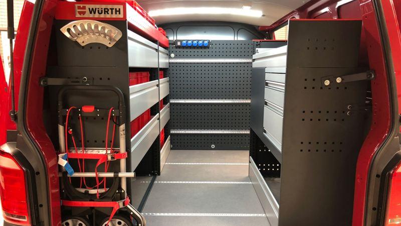 vw Volkswagen Caddy Transport Amarok Crafter varebilinnredning bilinnredning Sortimo Würth Smartfloor