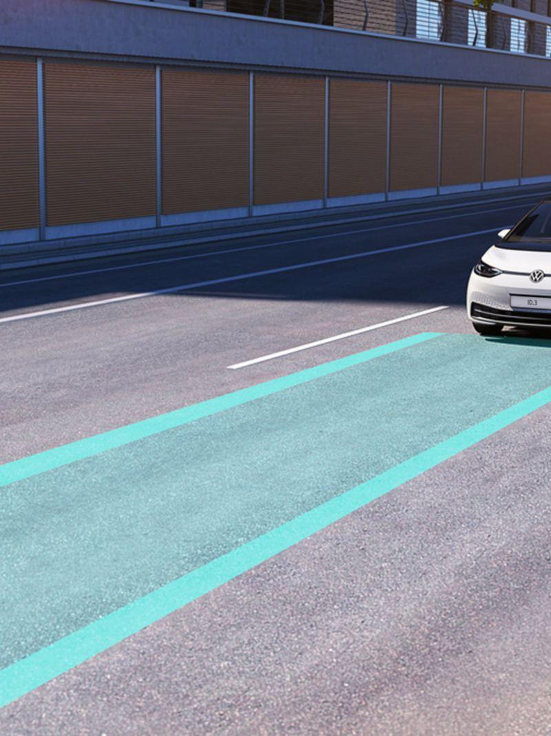 infografica sul funzionamento Lane Assist su VW ID.3 Volkswagen auto elettrica
