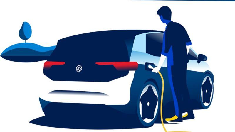 Lading av elbil ved bruk av vanlig stikkontakt Volkswagen VW ID.3
