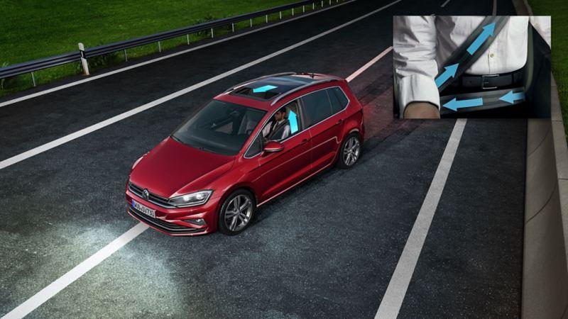 Rappresentazione schematica di una Volkswagen con dettaglio del pretensionatore
