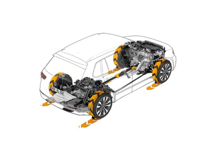 Przeźroczysty VW Tiguan, widać układ napędowy i cztery koła