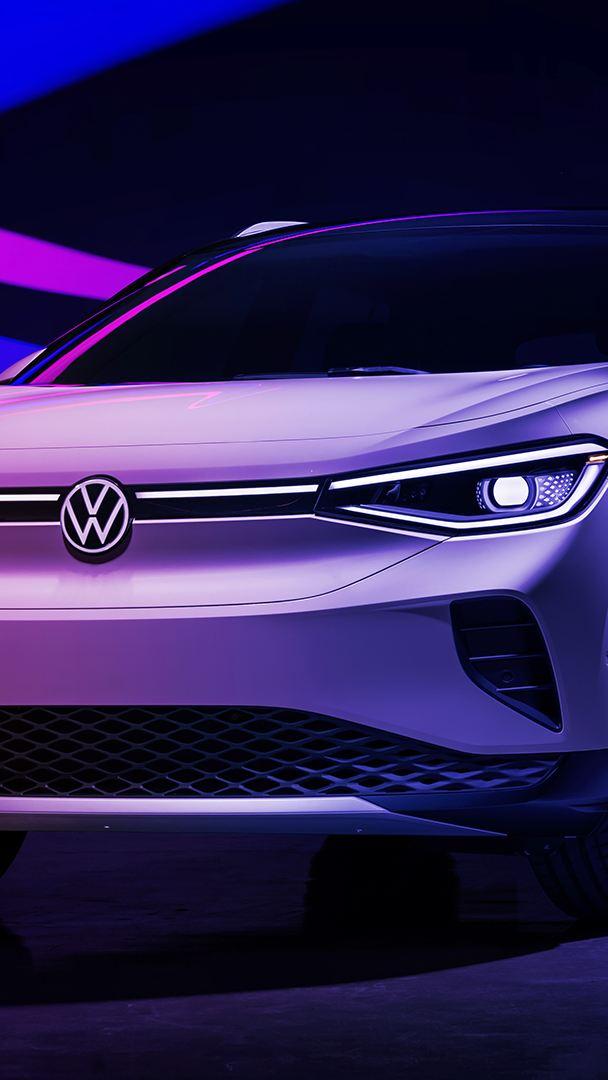 Vue de face de l'ID.4 Volkswagen blanc métallique