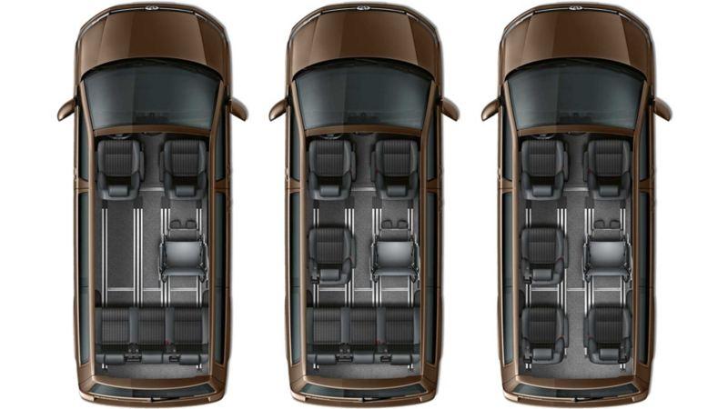 Volkswagen Multivan säteskombinationer