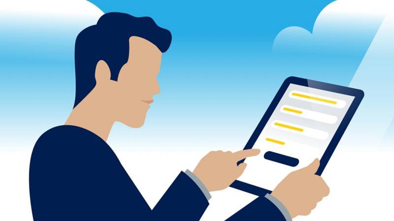 Grafik: Ein Mann füllt auf seinem Tablet ein Online-Formular aus