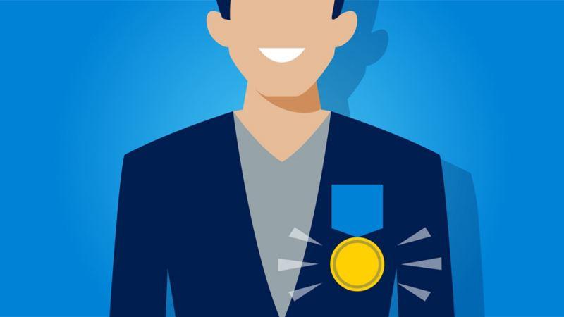 Grafik: Ein Mann glänzt mit besonderer Auszeichnung