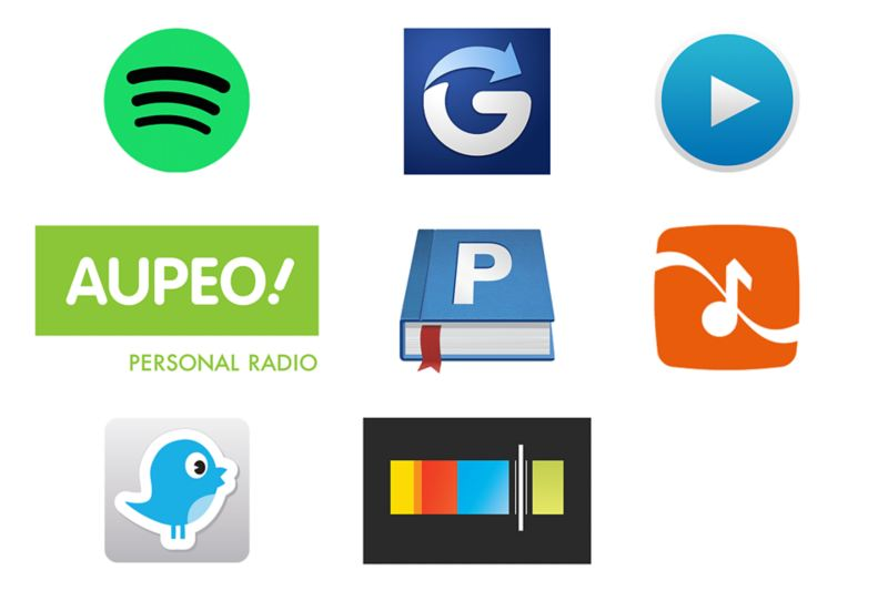 Spotify – Powered by RockScout, Glympse, Audioteka, AUPEO!, Parkopedia, RockScout, DoorBird, Stitcher