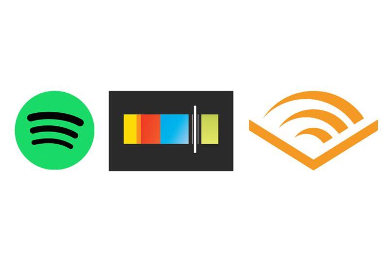 Spotify, Stitcher, Audible