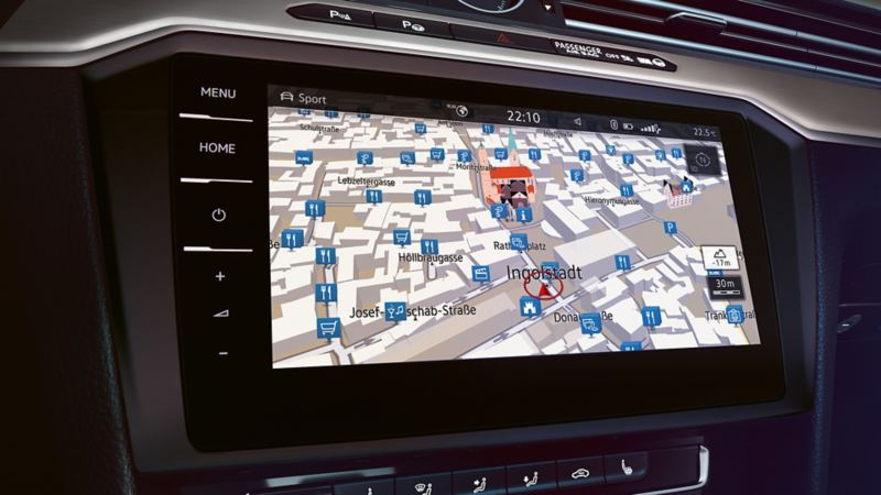Image of the navigation system in the on-board computer of a VW Passat