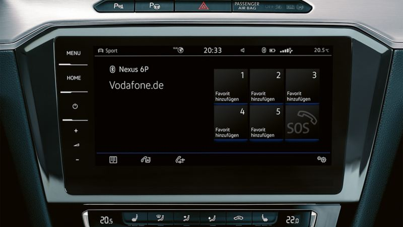 Interior of a VW Passat with the 'Business' mobile phone interface