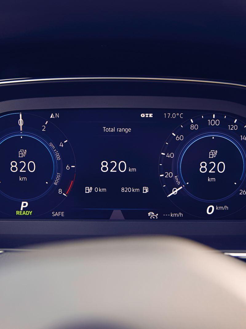 Nuova Passat GTE: Digital Cockpit, indicazione dell'autonomia
