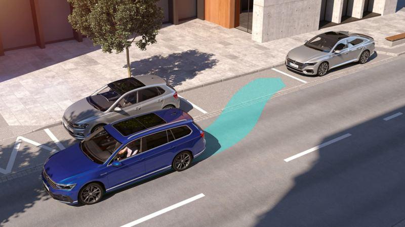 "Passat: diagrammatic representation of the ""Park Assist"", Passat Estate begins to automatically park backwards into a parking space"