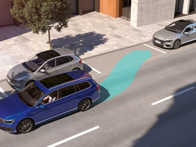 "Passat: Illustration över ""Park Assist"". Passat Sportscombi backar in i parkeringsficka."