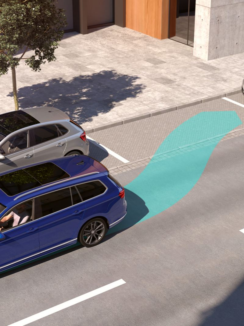 "Passat: schematic representation of the ""Park Assist"", Passat Variant starts to automatically park backwards into a parking space"