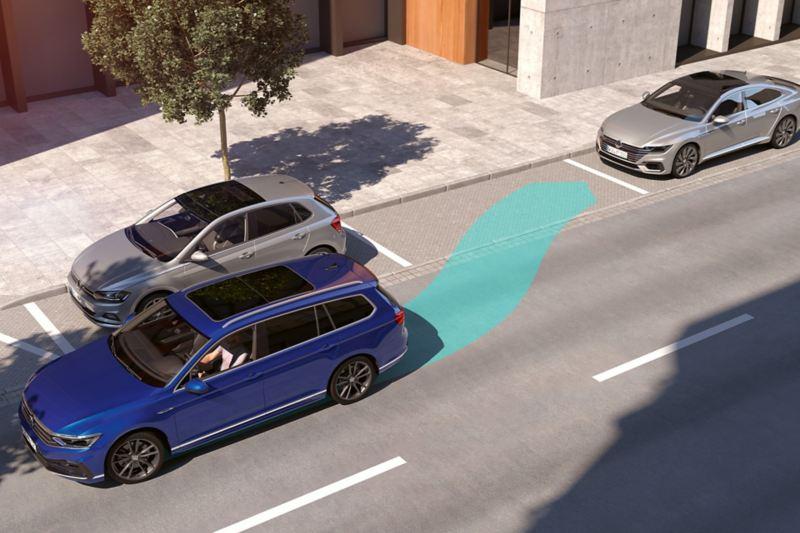 """Passat: rappresentazione schematica del sistema """"Park Assist"""", la Passat Variant imposta automaticamente la manovra durante un parcheggio in retromarcia"""