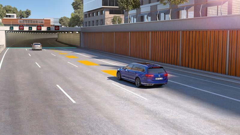 Passat automatische Distanzregelung ACC, schematische Darstellung der vorausschauenden Geschwindigkeitsregelung