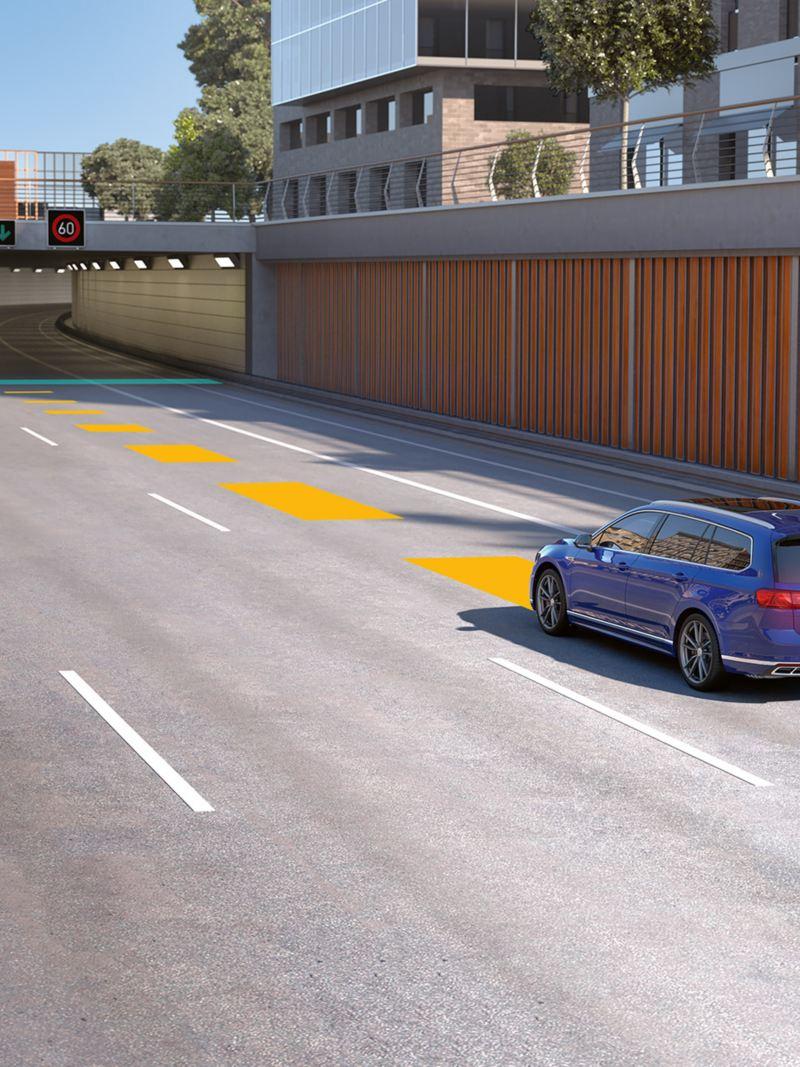 Passat Cruise Control Adaptativo ACC, representação esquemática da regulação preditiva da velocidade.