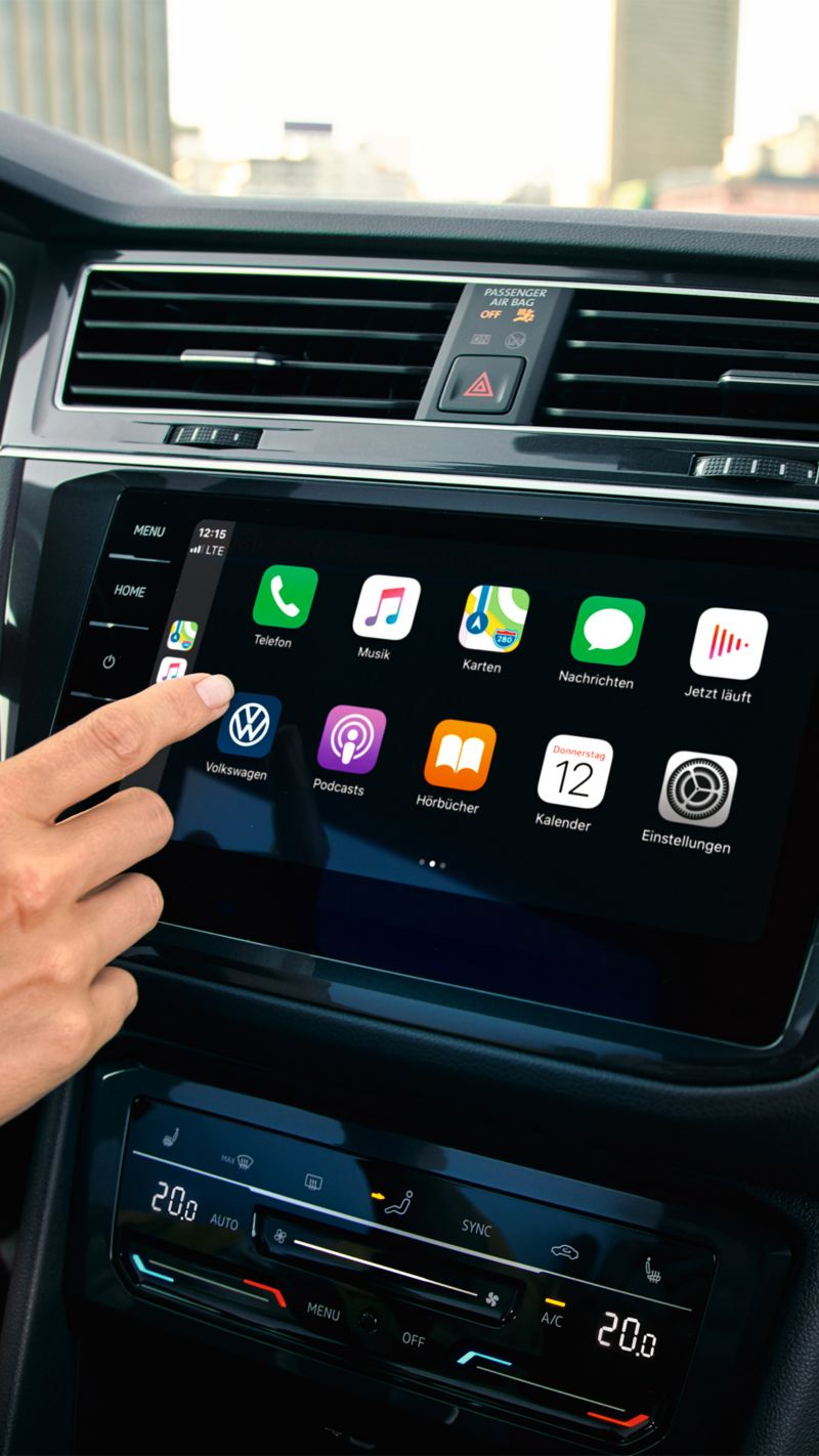 "Apple CarPlay with the Car-Net ""Discover Pro"" navigation system."