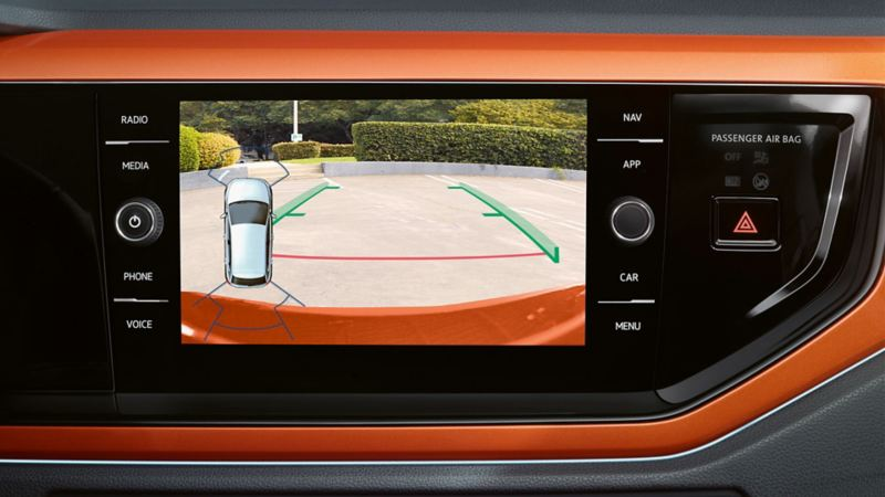 Image of the 'Rear View' camera system in the on-board computer of a VW Passat