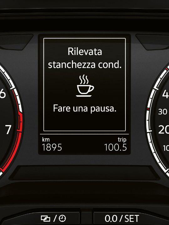 Volkswagen Polo, display con sistema di riconoscimento della stanchezza del conducente