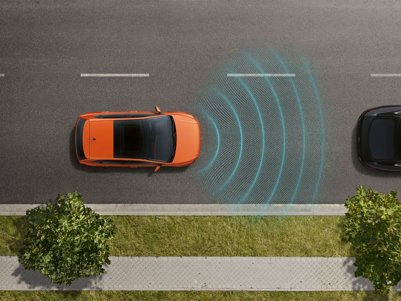 Bird's eye view of a VW Polo, adaptive cruise control ACC recognizes the car in front of it