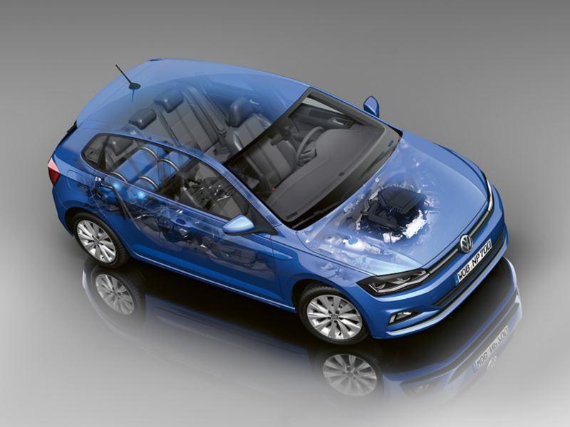 Γυάλινο Volkswagen Polo TGI,  όπου φαίνονται τα ρεζερβουάρ φυσικού αερίου και ο κινητήρας.