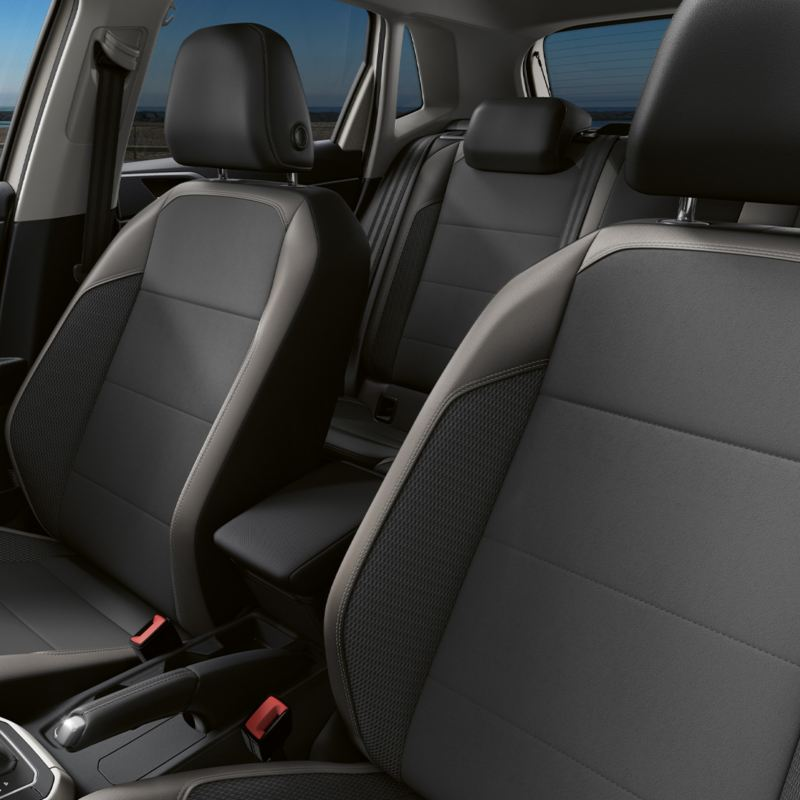 Looking in on the front seats of a Polo