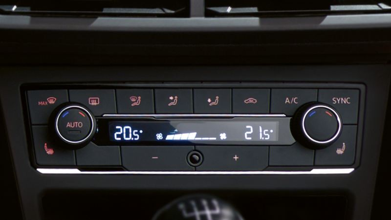 View of a VW 'Climatronic' air conditioning system in a VW Polo