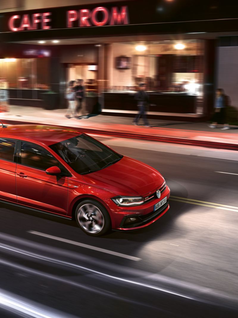 Polo GTI in red in motion