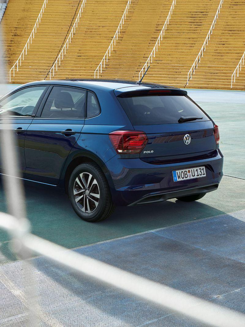 3/4 rear view VW Polo UNITED through goal mesh