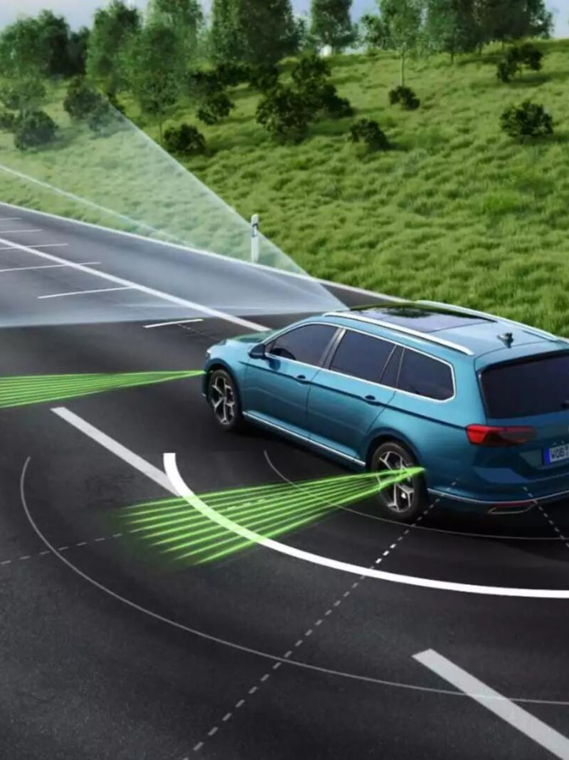 conduite autonome, visualisation des systèmes de radars de détection de la VW Passat SW GTE