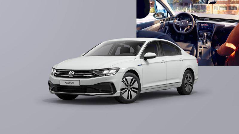 VW Passat GTE, VW Passat Variant GTE, widok z tyłu na parkingu, na pierwszym planie uśmiechnięta rodzina