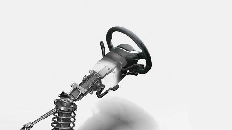 Immagine del piantone di sicurezza dello sterzo su una VW Scirocco