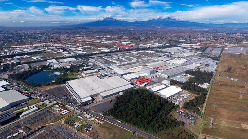Toma aérea de la planta Volkswagen de Puebla