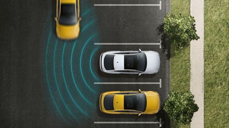 Rappresentazione schematica del Rear Traffic Alert visto dall'alto su una Volkswagen Arteon