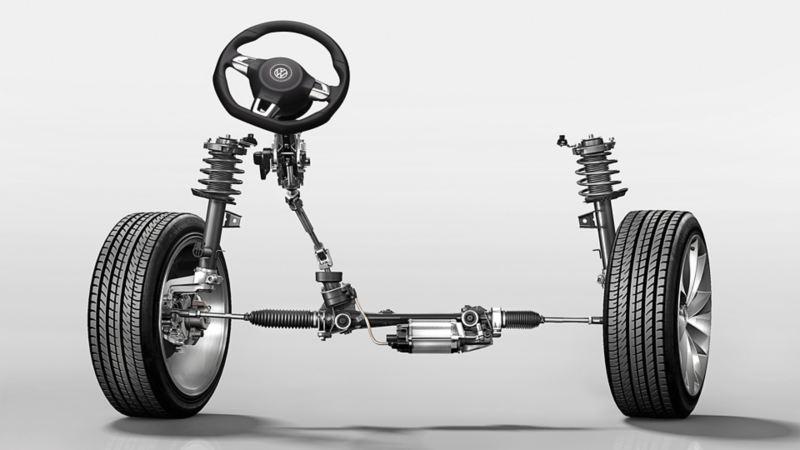 Ilustracja elektromechanicznego wspomagania układu kierowniczego w VW Scirocco