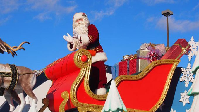 Santa Claus float with presents
