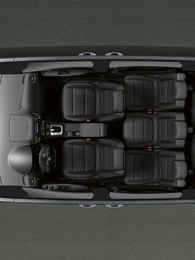 Vista dall'alto dei 7 posti disponibili su VW Sharan