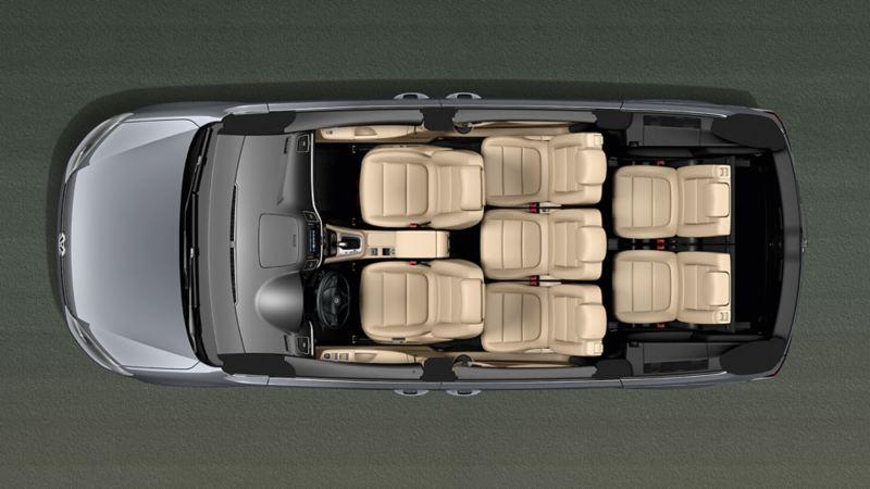 VW Sharan von oben betrachtet mit offenem Dach und Blick auf die Sitze