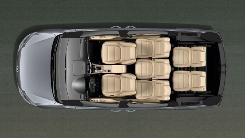 VW Sharan viewed from above with open roof and view of seats