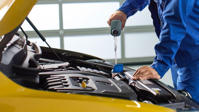 Volkswagen Genuine Engine Oil is filled into a yellow car by a VW service employee