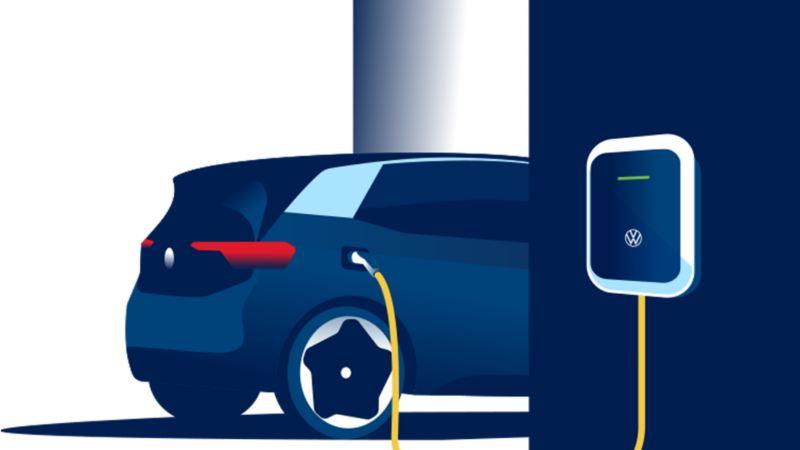 O carro elétrico Volkswagen ID.3 carrega num ID. Charger.