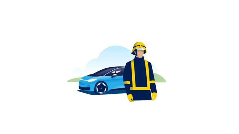 A fire fighter stands in front of a Volkswagen ID.3.