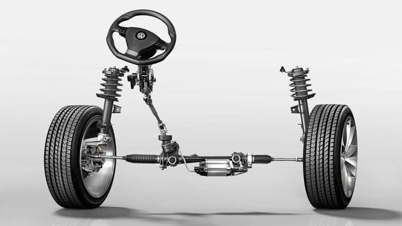 Immagine del servosterzo elettromeccanico di una Volkswagen Scirocco