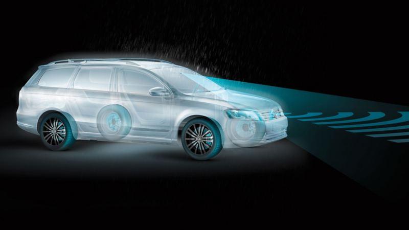 Rappresentazione schematica dei sistemi di sicurezza attiva su una Volkswagen