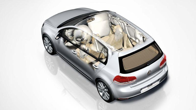 Rappresentazione schematica del sistema di ritenuta di VW Golf