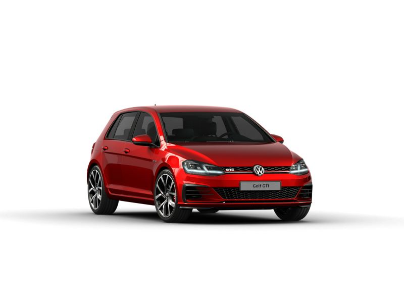 Volkswagen Golf GTI in red on a white background