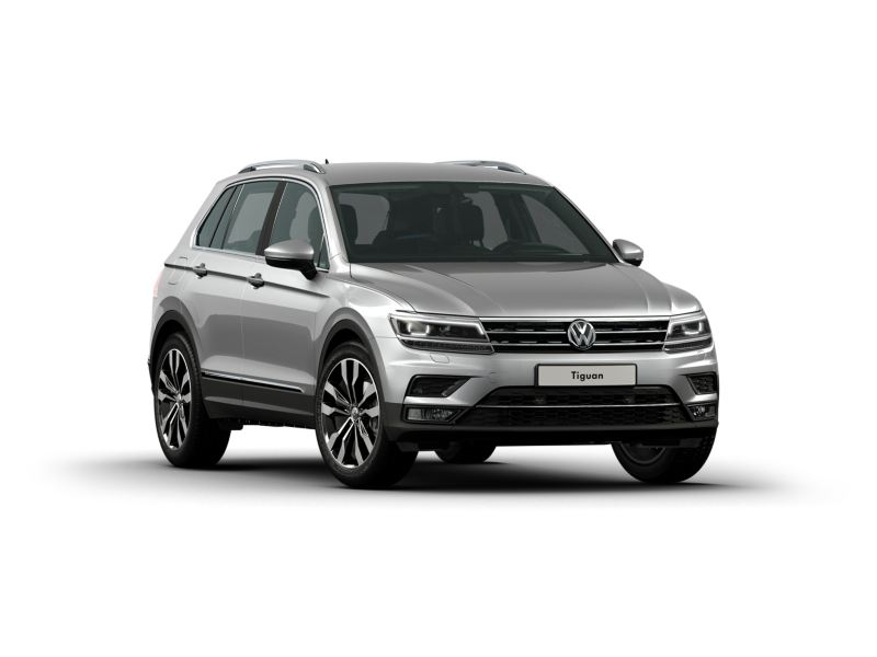 The Volkswagen Tiguan in silver on a white background