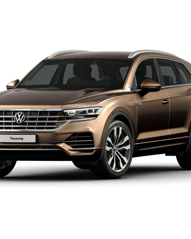 The Volkswagen Touareg in desert gold on a white background