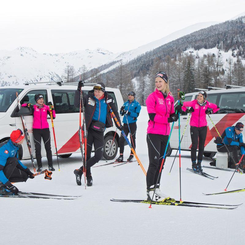 Swiss-Ski Nachwuchs bereiten sich vor zwei Caravelles vor