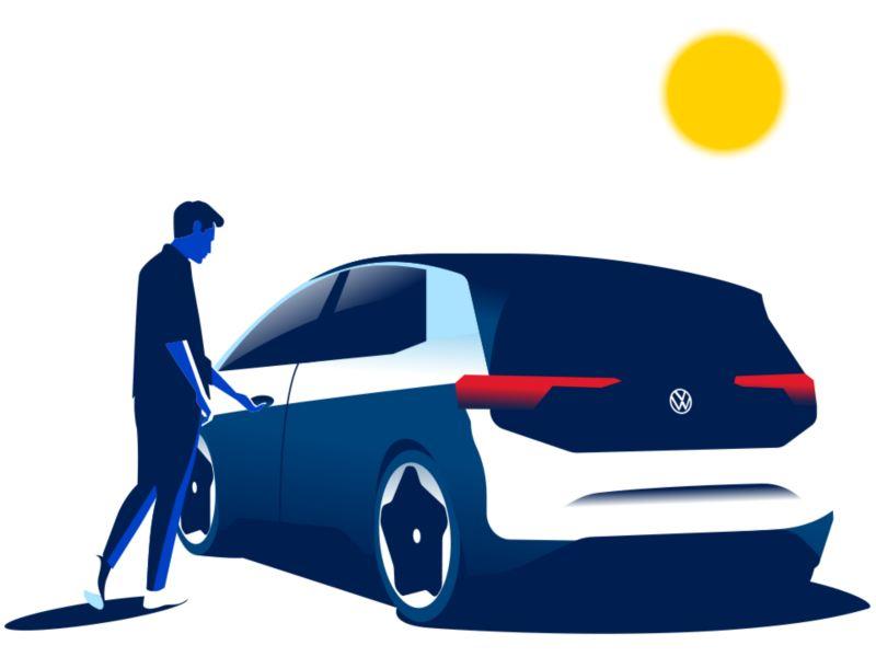 Illustrazione uomo sale a bordo di un veicolo elettrico VW